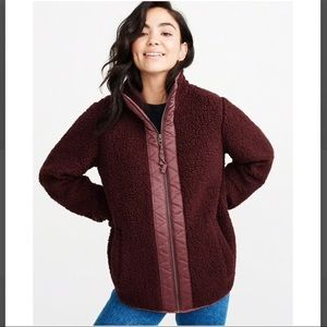 Abercrombie & Fitch Burgundy Sherpa Zip Jacket
